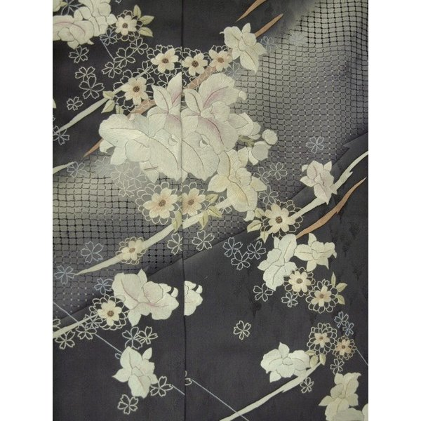 特選訪問着汕頭刺繍訪問着  未仕立て 1341 濃グレー 花