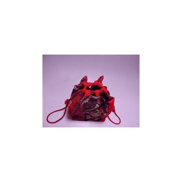 bag1 送料無料! 巾着バッグ 紅色・黒・金 植物文 麻の葉柄 中古