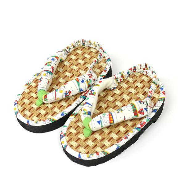 ここでしか買えない 子供 浴衣 サンダル 畳みたいで気持ちよい 軽い 歩きやすい 和柄 サンダル踵ゴム付き 15cm 16.5cm 18cm|kimonocafe-y|15