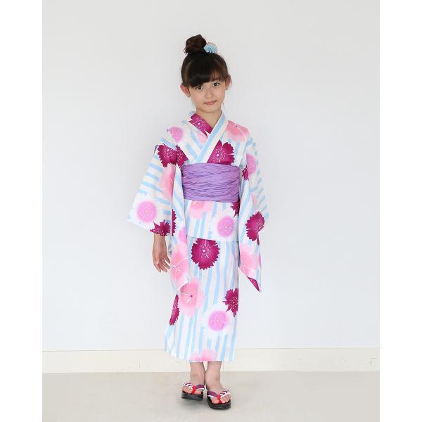 女の子 浴衣 帯 2点 浴衣 セット 水色ストライプ撫子 100cm 110cm 120cm 130cm 低学年 幼児|kimonocafe-y|02