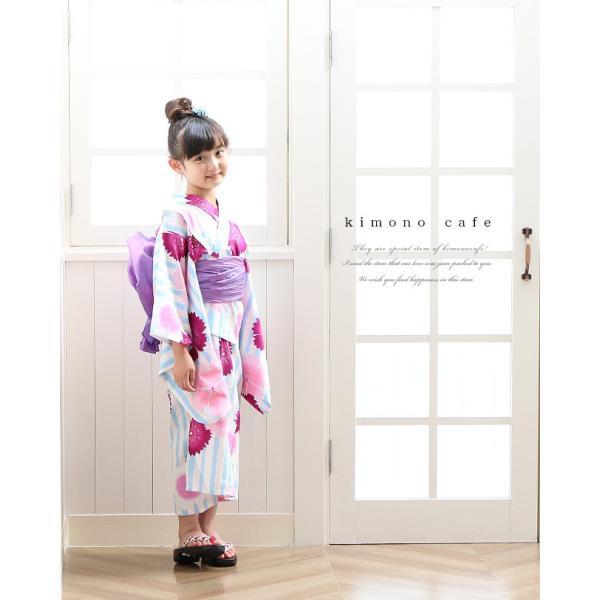 女の子 浴衣 帯 2点 浴衣 セット 水色ストライプ撫子 100cm 110cm 120cm 130cm 低学年 幼児|kimonocafe-y|03