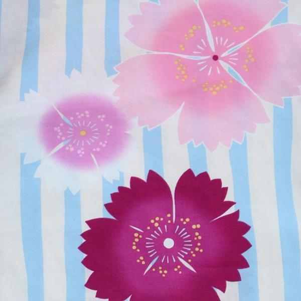 女の子 浴衣 帯 2点 浴衣 セット 水色ストライプ撫子 100cm 110cm 120cm 130cm 低学年 幼児|kimonocafe-y|04