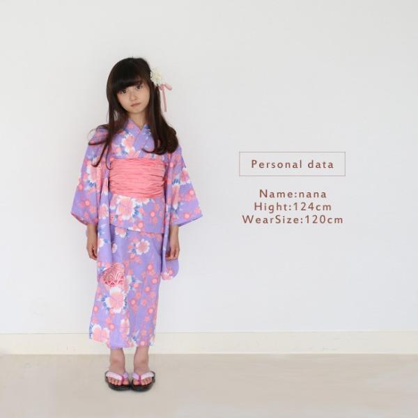 女の子 浴衣 帯 2点 浴衣 セット 水色ストライプ撫子 100cm 110cm 120cm 130cm 低学年 幼児|kimonocafe-y|08