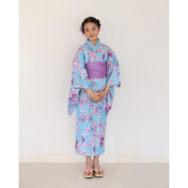 ハイジュニア 女の子 浴衣 帯 2点 セット 浴衣セットト 水色輪っか紫陽花 130cm 140cm 150cm 低学年 高学年|kimonocafe-y|02