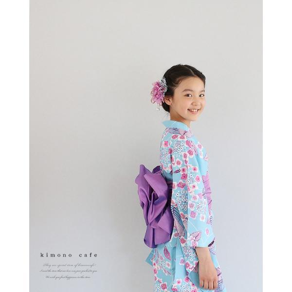 ハイジュニア 女の子 浴衣 帯 2点 セット 浴衣セットト 水色輪っか紫陽花 130cm 140cm 150cm 低学年 高学年|kimonocafe-y|03