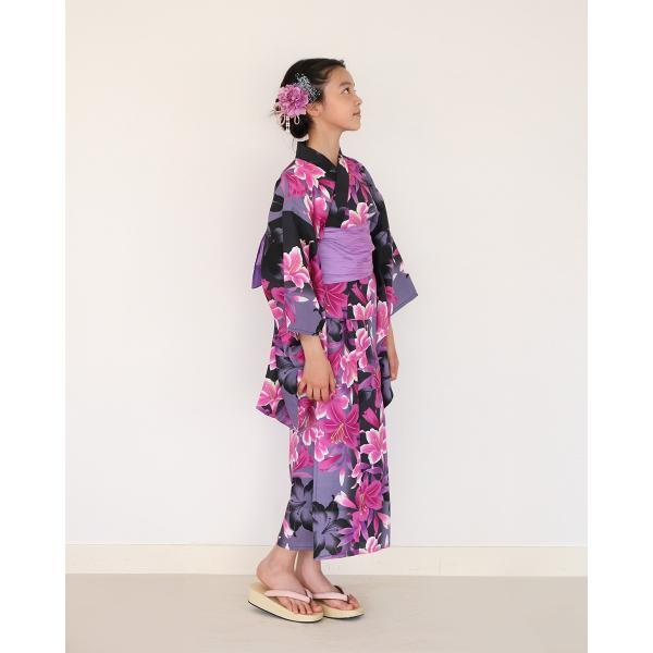 ハイジュニア 女の子 浴衣 帯 2点セット 浴衣セット 黒むらさき百合 130cm 140cm 150cm 低学年 高学年|kimonocafe-y|02