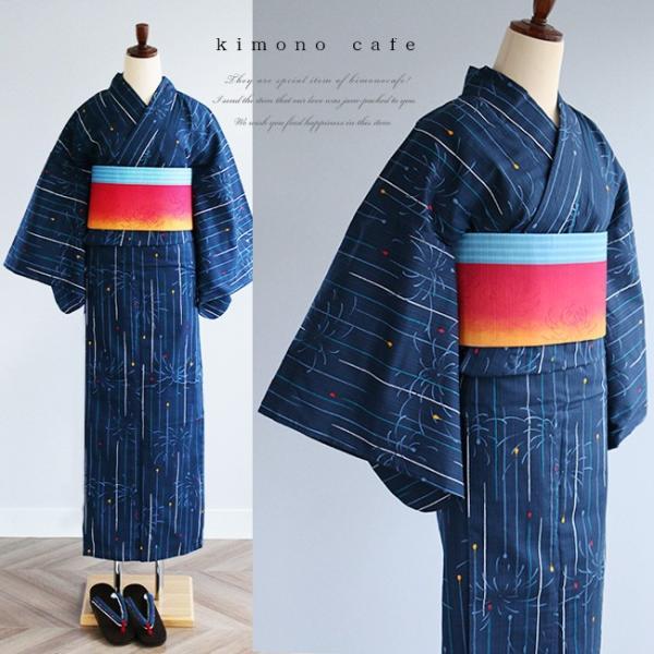 レディース 浴衣 単品 線香花火柄 日本製生地 変わり織り浴衣 大きいサイズ 小さいサイズ|kimonocafe-y
