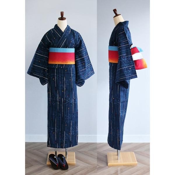 レディース 浴衣 単品 線香花火柄 日本製生地 変わり織り浴衣 大きいサイズ 小さいサイズ|kimonocafe-y|03