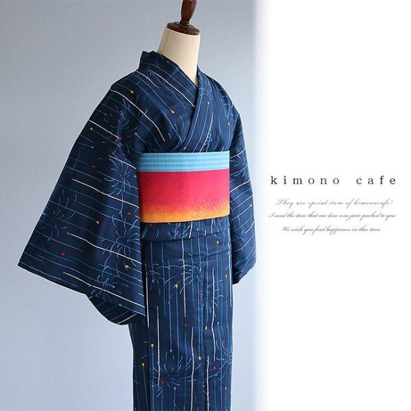 レディース 浴衣 単品 線香花火柄 日本製生地 変わり織り浴衣 大きいサイズ 小さいサイズ|kimonocafe-y|04