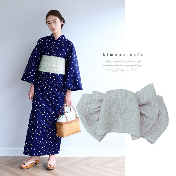 浴衣 セット 2点セット 水玉 ネイビー 麻 兵児帯 浴衣セット kimonocafe フリーサイズ Sサイズ ワイドサイズ TLサイズ|kimonocafe-y