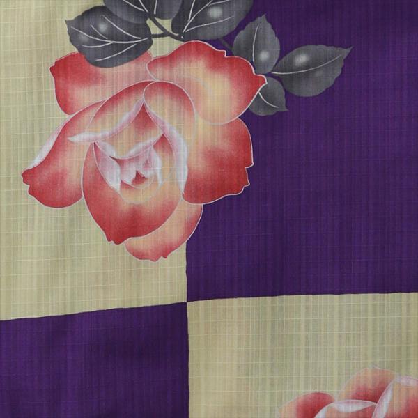 浴衣 セット 2点セット 市松薔薇 パープル 麻 兵児帯 浴衣セット kimonocafe フリーサイズ Sサイズ ワイドサイズ TLサイズ|kimonocafe-y|03