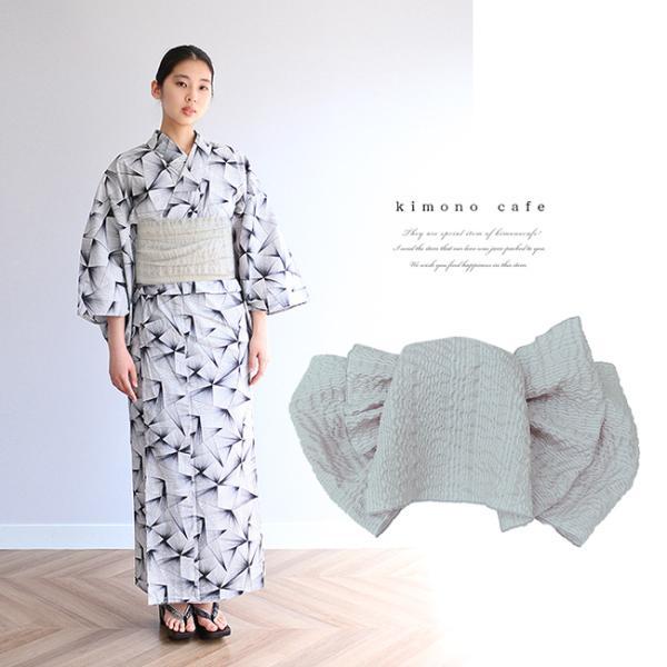 浴衣 セット 2点セット ライン モノトーン 麻 兵児帯 浴衣セット kimonocafe フリーサイズ Sサイズ ワイドサイズ TLサイズ kimonocafe-y
