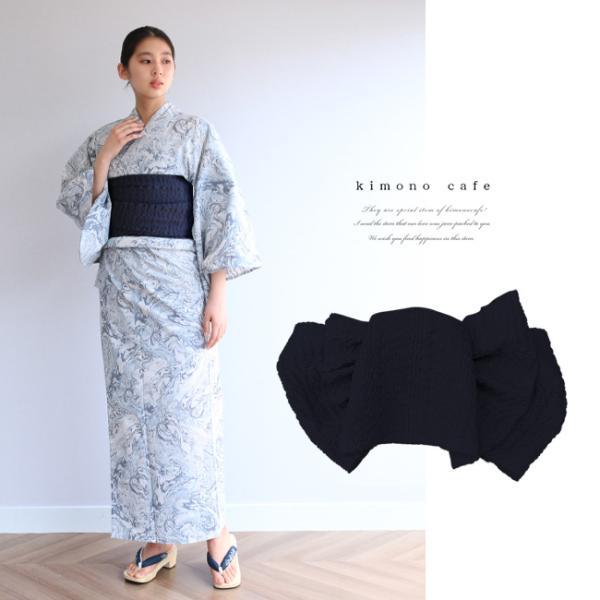浴衣 セット 2点セット 墨流し ブルーグレー 麻 兵児帯 浴衣セット kimonocafe フリーサイズ Sサイズ ワイドサイズ TLサイズ|kimonocafe-y
