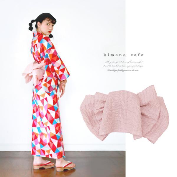 浴衣 セット 2点セット ステンドガラス ピンク 麻 兵児帯 浴衣セット kimonocafe フリーサイズ Sサイズ ワイドサイズ TLサイズ kimonocafe-y