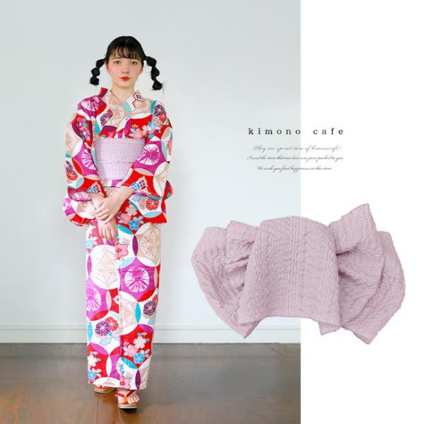浴衣 セット 2点セット レトロ丸紋 パープル 麻 兵児帯 浴衣セット kimonocafe フリーサイズ Sサイズ ワイドサイズ TLサイズ|kimonocafe-y