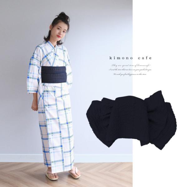 浴衣 セット 2点セット チェック ブルー 麻 兵児帯 浴衣セット kimonocafe フリーサイズ Sサイズ ワイドサイズ TLサイズ|kimonocafe-y