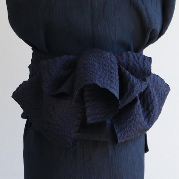 浴衣 セット 2点セット チェック ブルー 麻 兵児帯 浴衣セット kimonocafe フリーサイズ Sサイズ ワイドサイズ TLサイズ|kimonocafe-y|04