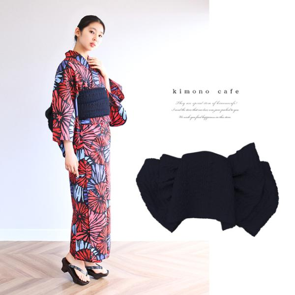 浴衣 セット 2点セット 花火 ブルー 麻 兵児帯 浴衣セット kimonocafe フリーサイズ Sサイズ ワイドサイズ TLサイズ|kimonocafe-y