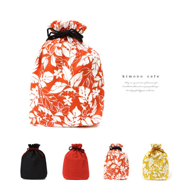 巾着袋 巾18cm 刺し子風 ボタニカル マチあり 給食袋 小物入れ 綿|kimonocafe-y