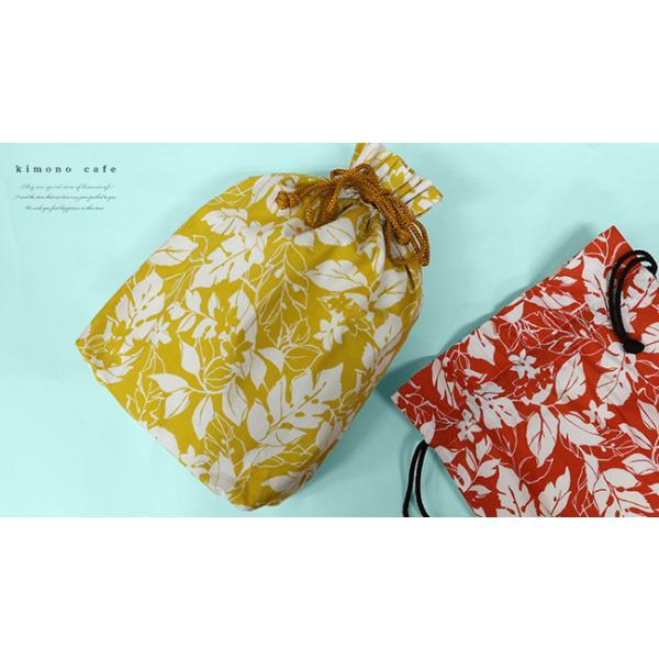 巾着袋 巾18cm 刺し子風 ボタニカル マチあり 給食袋 小物入れ 綿|kimonocafe-y|02