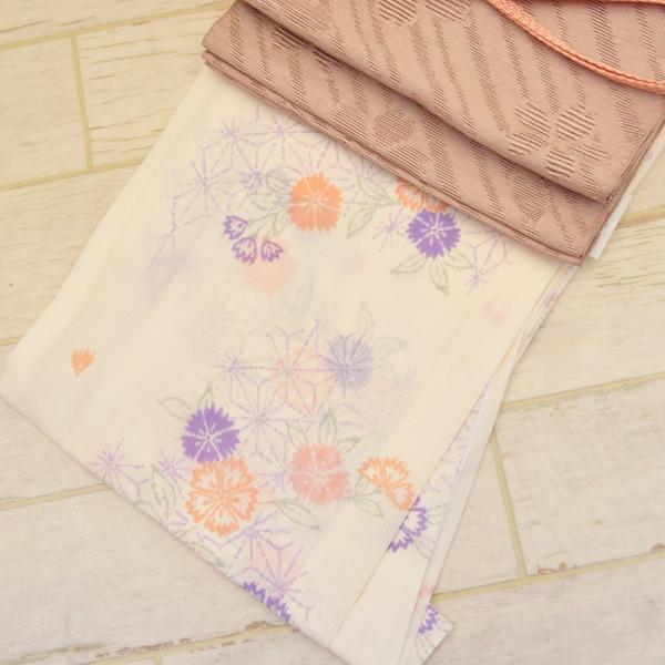 2019新作 清楚 クリーム色 なでしこ柄 洗える夏着物・帯 2点セット (全2サイズ) (6色から選べる帯)  Mサイズ Lサイズ 絽 紗 夏きもの 夏着物セット nk-06 z