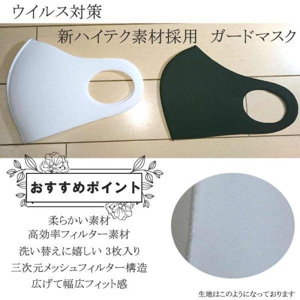 在庫限り 洗えるガードマスク 3枚 (全2色) 白色 黒色 大人 レギュラーサイズ 3次元メッシュフィルター構造 GUARDMASUK 返品交換キャンセル不可 1期 masuku009 z kimonohiroba-you 03
