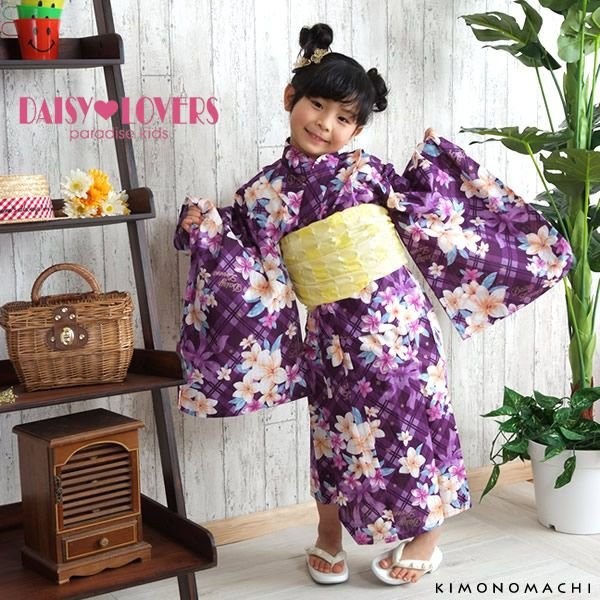 794c6bffcb21f DAISYLOVERS女の子浴衣単品「紫チェック リボンとお花」 デイジー ...