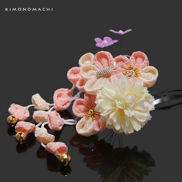 3歳向け 七五三 髪飾り「ピンク つまみのお花、蝶」つまみ細工髪飾り 七五三 お子様用髪飾り (2409) (メール便不可)|kimonomachi