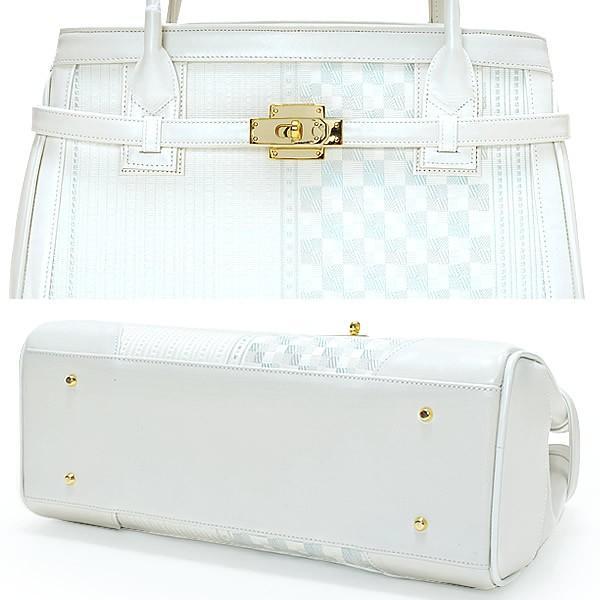 博多織 和装バッグ単品「白色 縞、市松」和装にも、洋装にも 日本製 着物バッグ 和装バッグ 和装小物