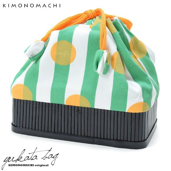 竹籠 巾着単品「グリーン縞に黄色水玉」 京都きもの町 巾着バッグ 籠巾着 浴衣巾着