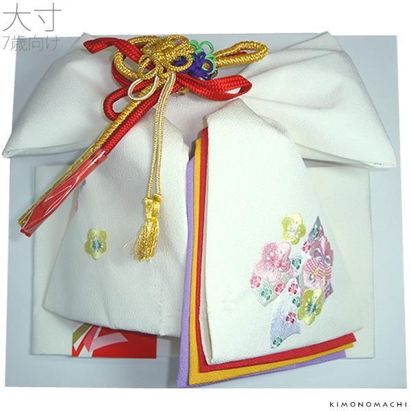 七五三 7歳 帯 単品「白色 リボンと桜」7歳向け お正月にも 付け帯 作り帯 二部式帯 No.303リボン桜・白(大)