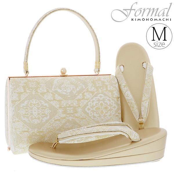 礼装 草履バッグセット「ゴールド 吉祥菱格子」Mサイズ 1の2枚芯 フォーマル 金鷲謹製 結婚式、入学式、卒業式、式典など|kimonomachi