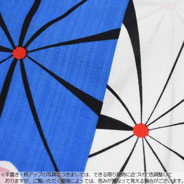 ナカノヒロミチ 浴衣単品「黒×ブルー、白色レトロフラワー」レディース S、F、TL、LL 吸水速乾 夏着物風浴衣 ポリエステル浴衣m1906ykl50|kimonomachi|05