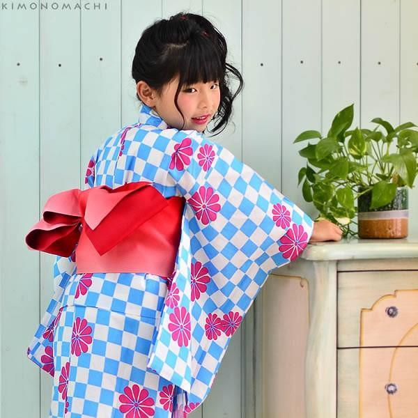 こども 浴衣セット「水色市松」レトロモダン 110、120、130、140、150 子供浴衣セット ゆかた キッズ浴衣セット|kimonomachi|03