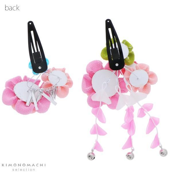 七五三 髪飾り つまみ細工 2点セット「ピンク色 つまみのお花」子供 つまみ細工 七歳の女の子に、三歳、五歳、桃の節句 (No.2530)|kimonomachi|03