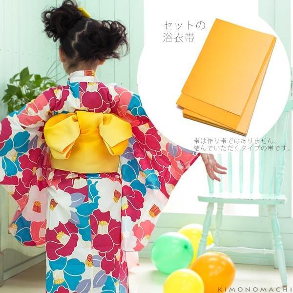 こども 浴衣セット「ラズベリー×コバルトブルー 椿」レトロモダン 110、120、130、140、150 子供浴衣セット ゆかた キッズ浴衣|kimonomachi|06