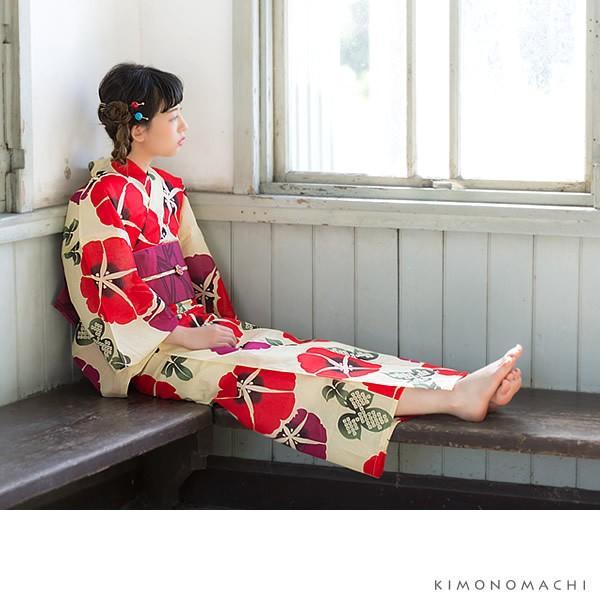 浴衣 レディース セット オリジナル 「赤色 朝顔」綿 S F TL LL 女性浴衣セット 夏祭り 盆踊りに お仕立て上がりss2012ykl50|kimonomachi|03