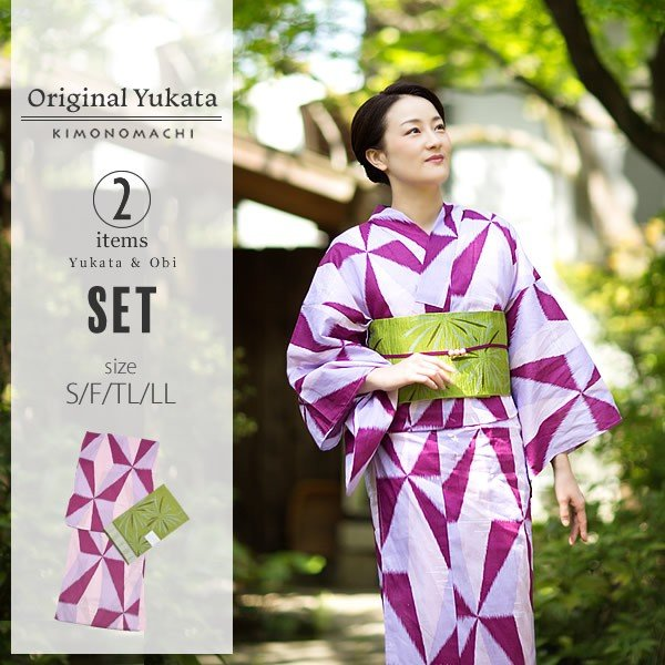 京都きもの町オリジナル 浴衣2点セット「パープル レトロ幾何学模様」綿 S、F、TL、LL 女性浴衣セット 夏祭り、盆踊りにm1906ykl50 kimonomachi