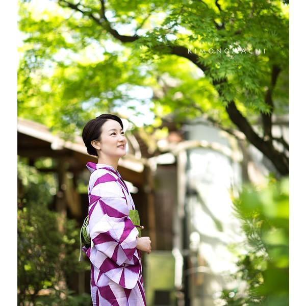 京都きもの町オリジナル 浴衣2点セット「パープル レトロ幾何学模様」綿 S、F、TL、LL 女性浴衣セット 夏祭り、盆踊りにm1906ykl50 kimonomachi 02