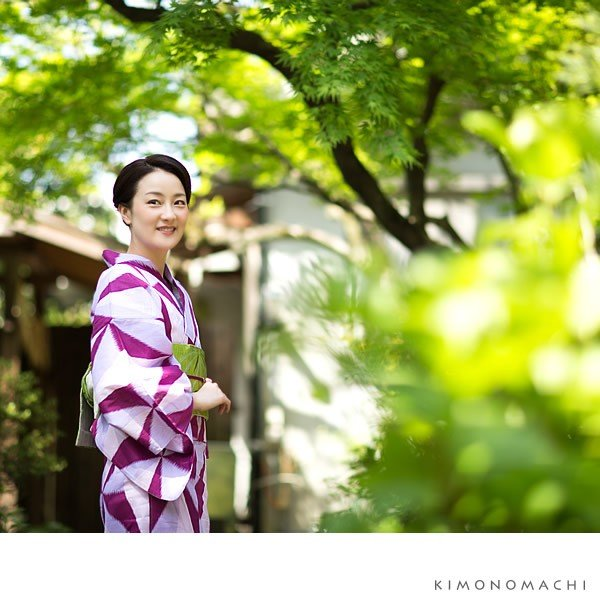 京都きもの町オリジナル 浴衣2点セット「パープル レトロ幾何学模様」綿 S、F、TL、LL 女性浴衣セット 夏祭り、盆踊りにm1906ykl50 kimonomachi 03