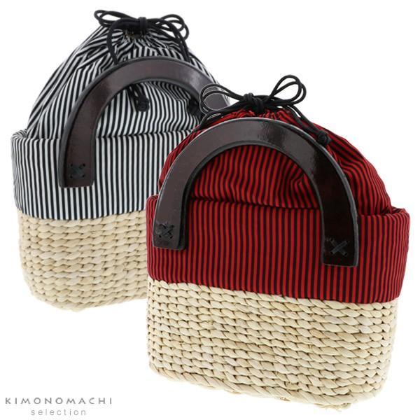 とうもろこし バッグ単品「赤×黒 白×黒 ストライプ柄」 編み籠バッグ 浴衣バッグ 浴衣巾着ss2106wkm30
