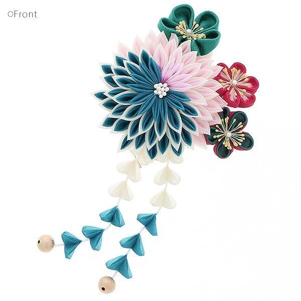 髪飾り 成人式 振袖 髪飾り「青×ピンク 剣つまみ、つまみのお花」成人式、卒業式、前撮り 振袖髪飾り|kimonomachi|02