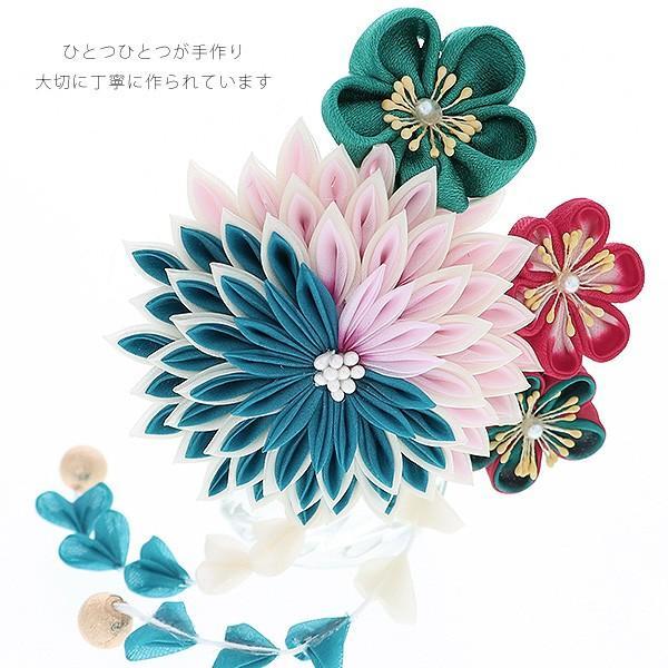 髪飾り 成人式 振袖 髪飾り「青×ピンク 剣つまみ、つまみのお花」成人式、卒業式、前撮り 振袖髪飾り|kimonomachi|04