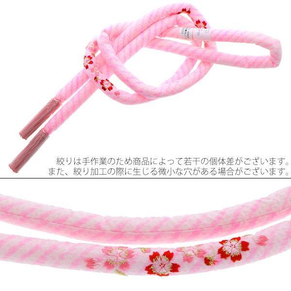 丸ぐけ 帯締め「ピンク色 桜の刺繍」正絹絞り 七五三に 正絹帯締め|kimonomachi|02