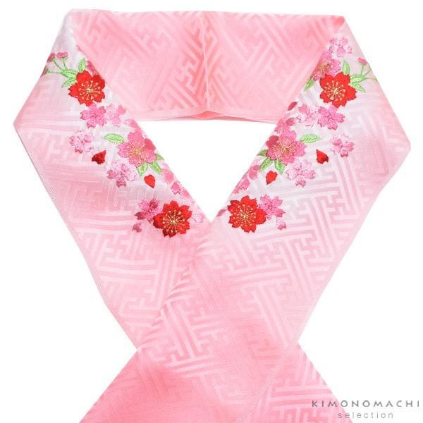 刺繍 半衿「ピンクぼかし 桜の刺繍」 七五三に 正絹半衿 kimonomachi