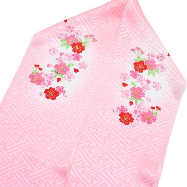 刺繍 半衿「ピンクぼかし 桜の刺繍」 七五三に 正絹半衿 kimonomachi 02