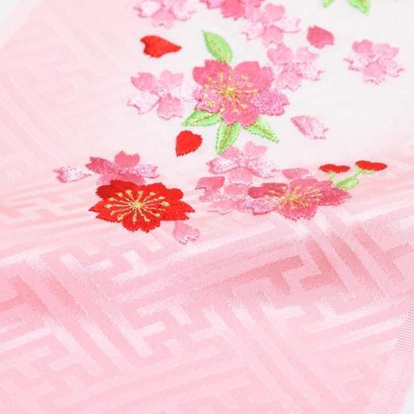 刺繍 半衿「ピンクぼかし 桜の刺繍」 七五三に 正絹半衿 kimonomachi 03