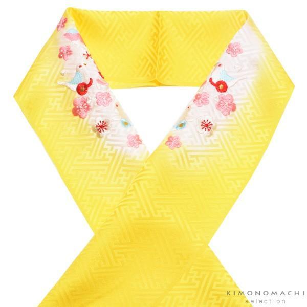 刺繍 半衿「黄色ぼかし おもちゃ柄の刺繍」 七五三に 正絹半衿|kimonomachi