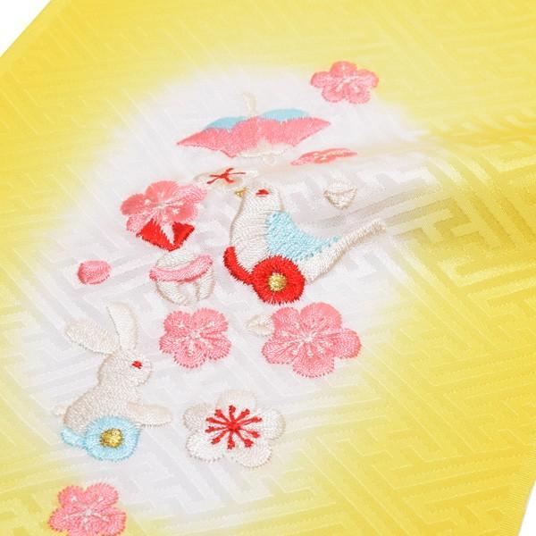 刺繍 半衿「黄色ぼかし おもちゃ柄の刺繍」 七五三に 正絹半衿|kimonomachi|03