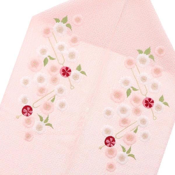 刺繍 半衿「ピンク色 かんざし、桜」IKKO 刺繍半襟 振袖衿 洒落衿|kimonomachi|02